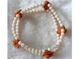"7"" 8-12mm white & orange flower shape natural coral bracelet"