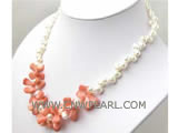 8*12mm melon seeds natural coral & freshwater pearl necklace