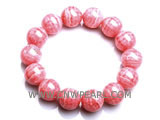 "7"" 13mm red round pink crystal bracelet"