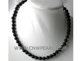8mm black round agate necklace
