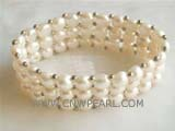 three rows 7-8mm white bread freshwater pearl bracelet  with small silver beads