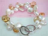 8-12mm white coin freshwater pearl bracelet  with rice freshwater pearl and raindrop crystal