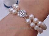 double rows 8-9mm white potato freshwater pearl bracelet
