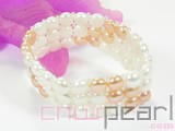 three rows 7mm white and pink button freshwater pearl stretch bracelet