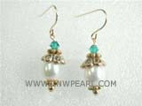 9-10mm white rice freshwater pearl dangling earrings