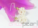 14.5-15.5mm white potato freshwater pearl dangling earrings