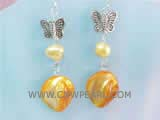 7-8mm light yellow nugget  freshwater pearl dangling earrings