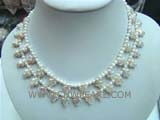 two rows white latin cross shape freshwater pearl necklace with small white round pearl beads