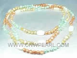 7-8mm multicolor nugget freshwater pearl rope necklace
