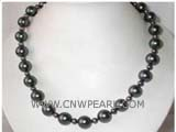 8-12mm black round freshwater pearl necklace with a 925 sterling silver clasp