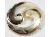natural mother of pearl shell double wave silver & white pendant