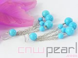 6-12mm blue flat natural turquoise earrings