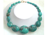 15-13mm green ellipse natural turquoise necklace