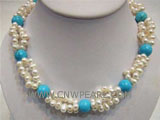 3 rows 12mm round turquoise & 6-7mm white pearl necklace