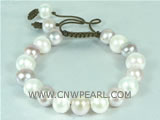 adjustable knitted bracelet with 11-12mm potato freshwater pearl