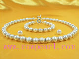 wholesale 8-9mm potaot pearl jewelry with zircon bridal set